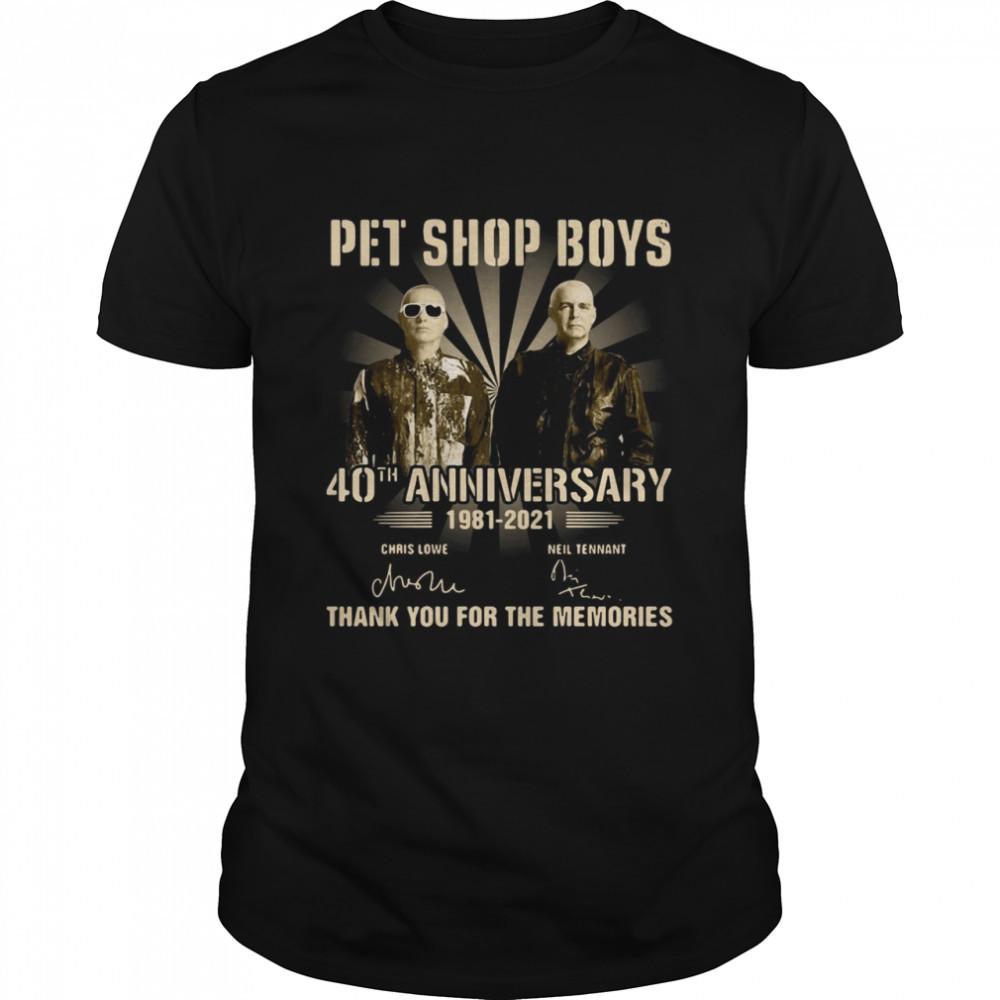 Pet Shop Boys 40th Anniversary 1981 2021 Signatures Thank You For The Memories T-shirt Classic Men's T-shirt