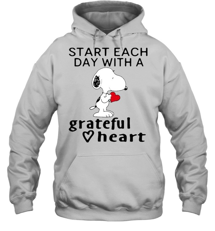 Start each day with a grateful heart snoopy shirt Unisex Hoodie