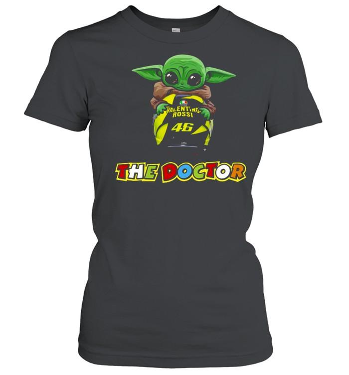 Baby Yoda The Child Hug 46 Valentino Rossi The Doctor  Classic Women's T-shirt