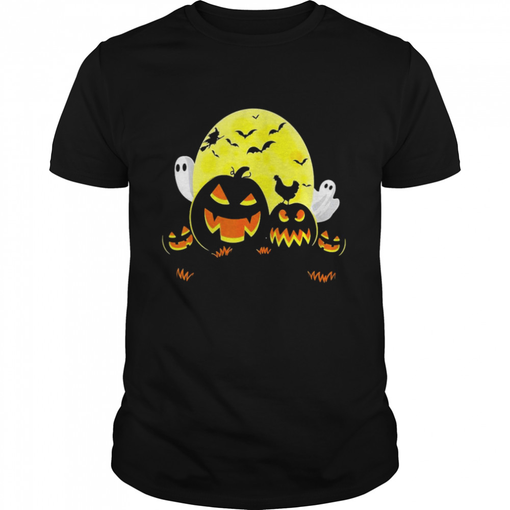 Chicken on Scary Pumpkin Halloween Full Moon Witch Boo Ghost T-shirt Classic Men's T-shirt