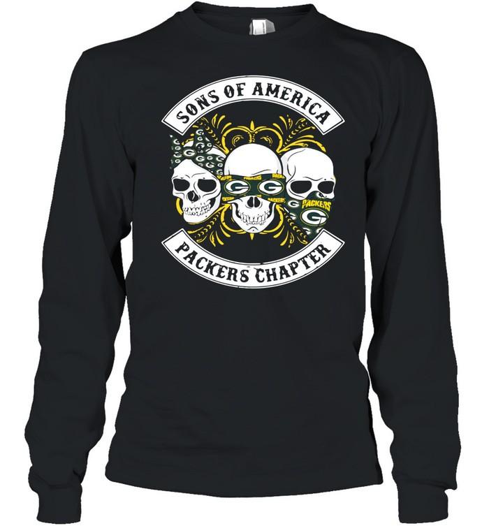 Skull sons of America Green bay Packers chapter shirt Long Sleeved T-shirt